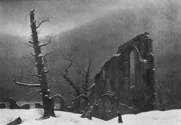 Caspar David Friedrich Moench Winter 580x399 Caspar David Friedrich Schwarze Romantik und Melancholie